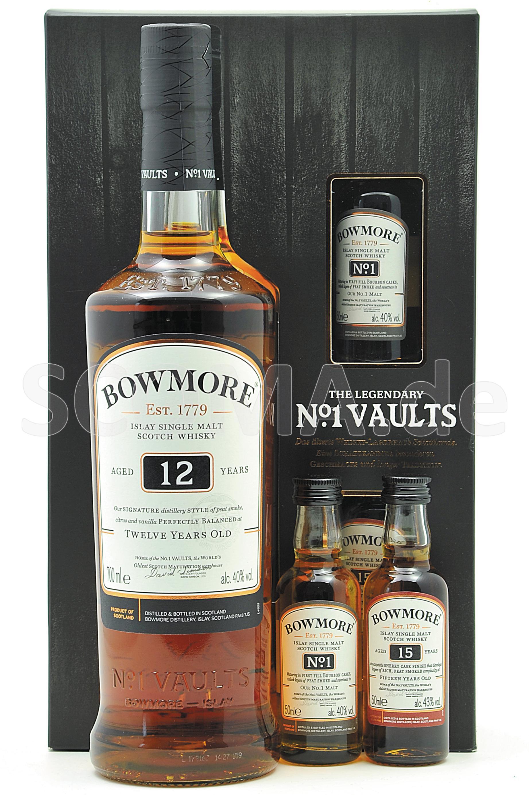 Bowmore 12 Jahre mit 2 Miniatu...
