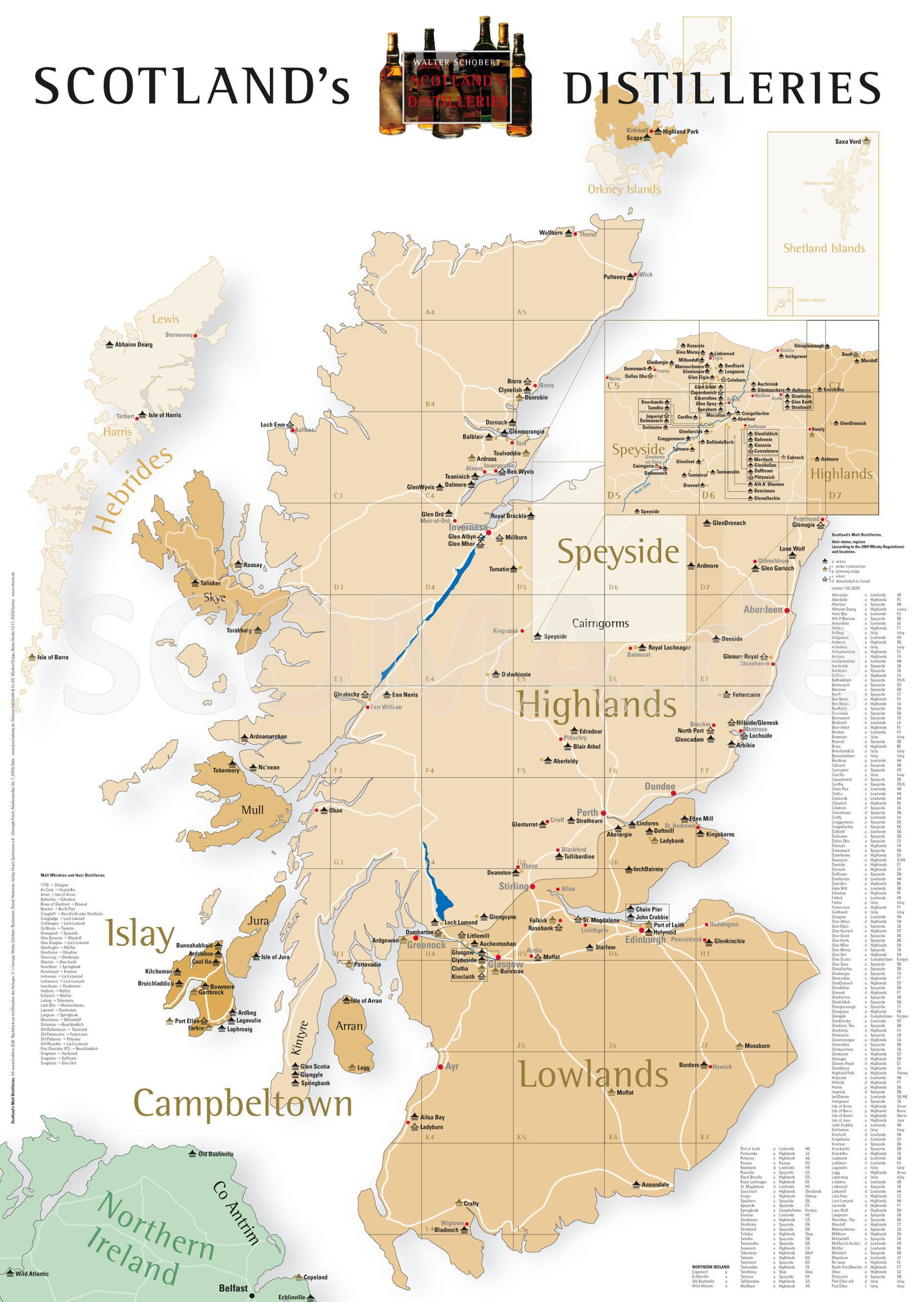 Poster: Landkarte Schottland D...